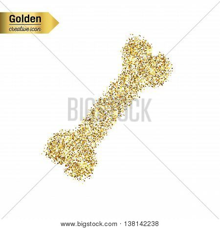 Gold glitter vector icon of bone isolated on background. Art creative concept illustration for web, glow light confetti, bright sequins, sparkle tinsel, abstract bling, shimmer dust, foil.