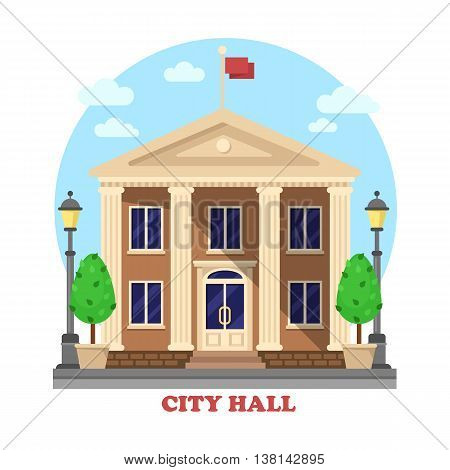City hall architecture facade of building exterior with flag on top and bushes near entrance with steps, lanterns or lamps on sides of townhouse or mayor, parliament house