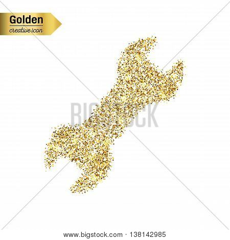 Gold glitter vector icon of spanner isolated on background. Art creative concept illustration for web, glow light confetti, bright sequins, sparkle tinsel, abstract bling, shimmer dust, foil.