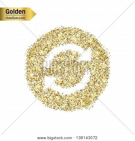 Gold glitter vector icon of arrows isolated on background. Art creative concept illustration for web, glow light confetti, bright sequins, sparkle tinsel, abstract bling, shimmer dust, foil.