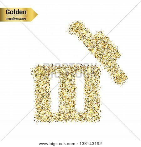 Gold glitter vector icon of trash box isolated on background. Art creative concept illustration for web, glow light confetti, bright sequins, sparkle tinsel, abstract bling, shimmer dust, foil.