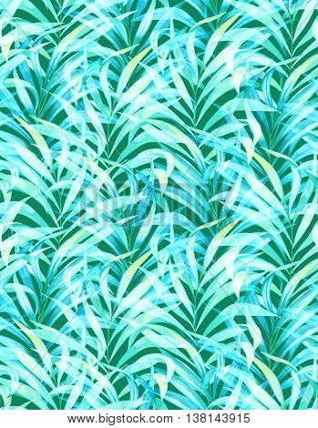 seamless elegant palm pattern with vertical direction. watercolor illustrations of vintage palm. colorful tender colors.