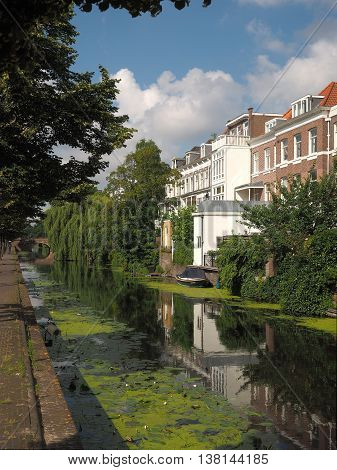 The Hague Netherlands - July 4 2016: Canal with boat bridge and residential housing