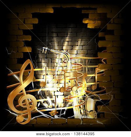 Vector illustration of gold musical notes volume and treble clef on the staff with a saxophone in the rupture of the old brick wall. You can use any text and image on a black background.