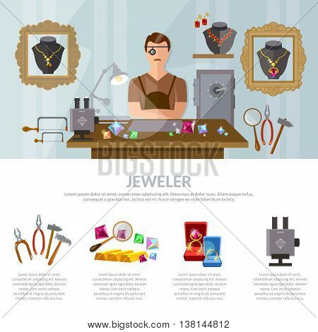 Jewelry infographics earrings rings gems jeweler at work vector illustration