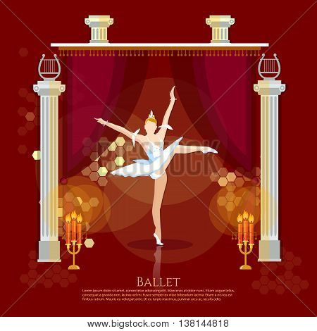 Ballet ballerina dancing on a theater stage vector illustration