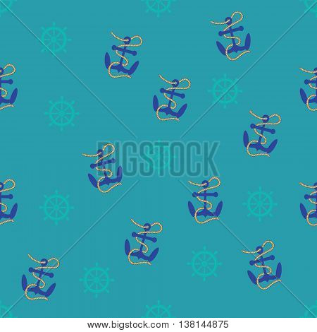 Seamless pattern of helm, rope and anchor