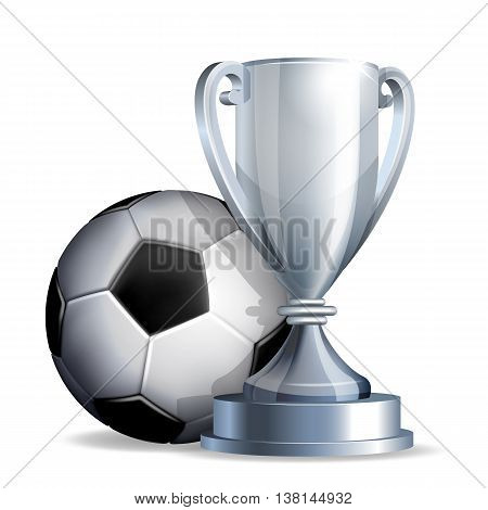 Silver cup with a football ball isolated on white background. Vector illustration