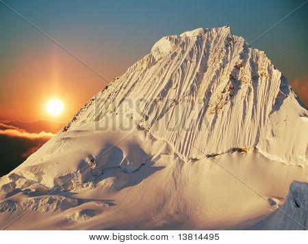 Alpamayo peak in Cordilleras mountain