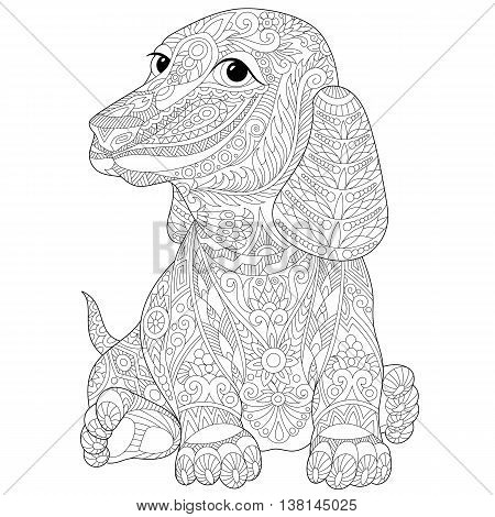 Stylized dachshund (teckel or german badger dog) isolated on white background. Freehand sketch for adult anti stress coloring book page with doodle and zentangle elements.