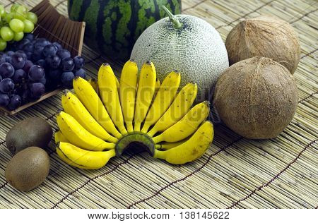 Fruit placed on a bamboo mat