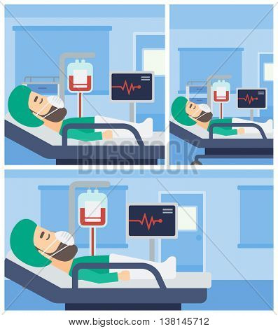 Hipster man in oxygen mask lying in hospital ward with heart rate monitor and equipment for blood transfusion. Vector flat design Illustration. Square, horizontal, vertical layouts.