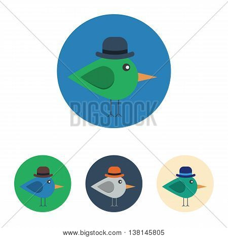 Vector set of icons with bird with bowler hat. Icons are in modern flat style in various colors without long shadows. Icons on a circular background for various use.