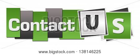 Contact us text written over green grey background.
