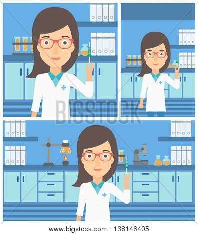 Female laboratory assistant holding syringe on the background of a laboratory with equipment. Vector flat design Illustration. Square, horizontal, vertical layouts.