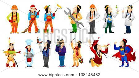 Set of illustrations of american indians of different professions such as artist, scientist, builder, cleaner, painter, doctor, plumber, engineer. Vector illustration isolated on white background.