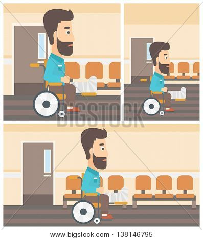Young hipster man with broken leg in plaster sitting in wheelchair in the hospital corridor. Vector flat design Illustration. Square, horizontal, vertical layouts.