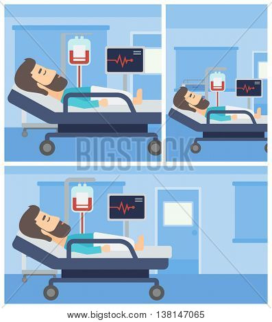 Young man lying in bed at hospital ward. Patient with heart rate monitor and equipment for blood transfusion in medical room. Vector flat design Illustration. Square, horizontal, vertical layouts.