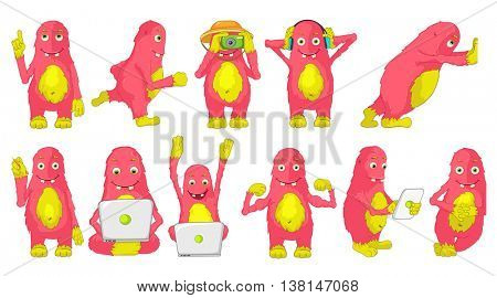 Set of cute big pink cheerful monsters using laptop, tablet computer, camera, headphones. Monster runing, poining finger up, showing muscles, drawing. Vector illustration isolated on white background.