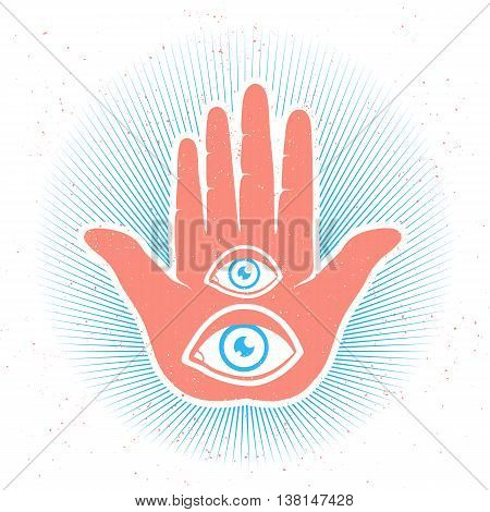Vintage vector illustration of hand and eyes