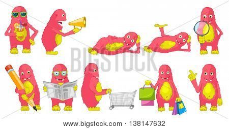 Set of cute big pink monsters drinking cocktail, doing shopping, reading newspaper, shouting in megaphone, drawing with pencil, using magnifier. Vector illustration isolated on white background.