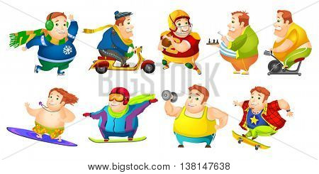 Set of illustrations of fat man wearing sports uniform. Plump man playing rugby, chess. Fat man lifting barbell, riding scooter and exercise bike. Vector illustration isolated on white background.