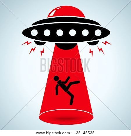 Vector illustration of an alien abduction .