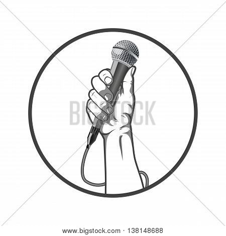 Black and white style hand holding a microphone in a fist. Vector illustration.