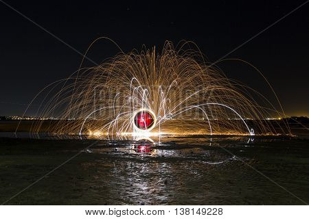 Colourful Steel Wool and Magnesium Ribbon Spinning