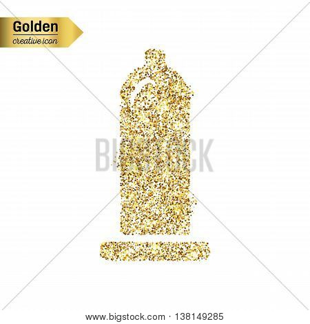 Gold glitter vector icon of condom isolated on background. Art creative concept illustration for web, glow light confetti, bright sequins, sparkle tinsel, abstract bling, shimmer dust, foil.