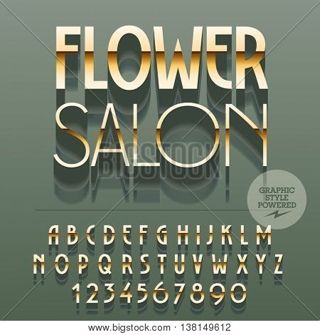 Set of slim reflective alphabet letters, numbers and punctuation symbols. Vector gold logo with text Flower salon. File contains graphic styles