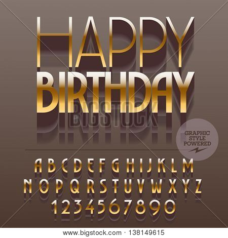 Set of slim reflective alphabet letters, numbers and punctuation symbols. Vector gold greeting card with text Happy birthday. File contains graphic styles