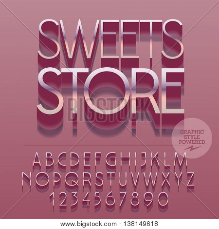 Set of slim reflective silver alphabet letters, numbers and punctuation symbols. Vector pink emblem with text Sweets store. File contains graphic styles
