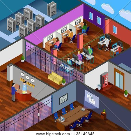 Development office isometric design concept with reception server room conference hall and working place for software developers flat vector illustration