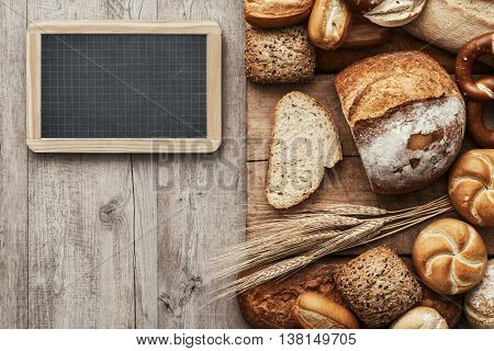 Fresh Bread And Chalkboard