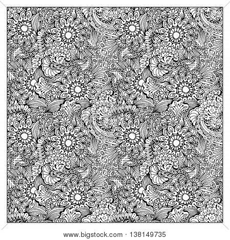 Black Bandana Print design. Fabric pattern for silk scarf. Border vector ornaments.