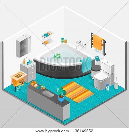Bathroom interior design with bath mirror and toilet isometric vector illustration