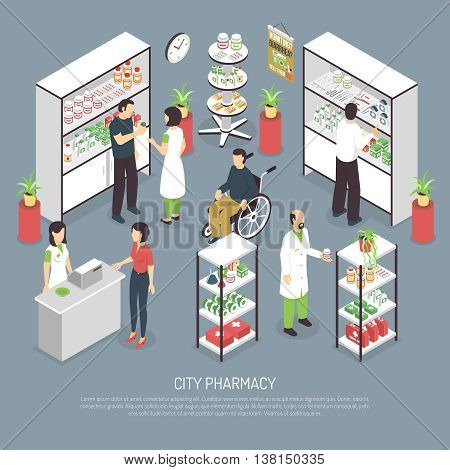 City Pharmacy interior isometric poster with apothecary attending customers and medication display racks abstract vector illustration