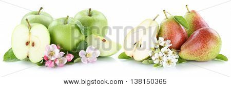 Apple And Pear Apples Pears Fruit Fruits Slice Isolated