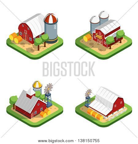 Countryside landscape isometric isolated compositions with farmhouse elevator haystack wind turbine design elements vector illustration