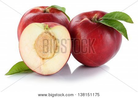 Nectarine Nectarines Fruit Fresh Fruits Isolated On White
