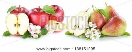 Apple And Pear Apples Pears Fruit Fresh Red Fruits Slice Isolated