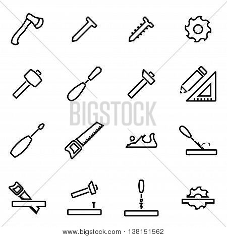 Vector illustration of thin line icons - carpentry on white background