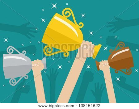 Hands holding trophies winner cups. Business or sporting achievements, the championship winner. victory. Vector illustration in flat style on green background