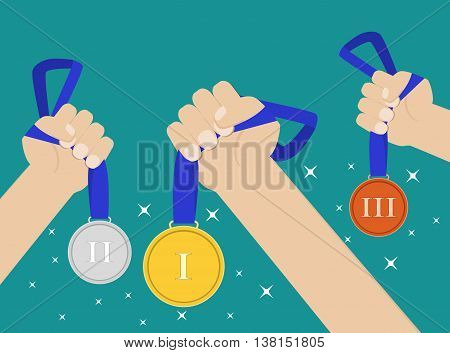 Hands holding golden, silver, bronze medal champion prize winner reward. Business or sporting achievements, the championship winner. victory. Vector illustration in flat style on green background