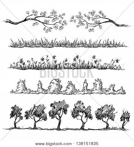 Set of nature hand drawn dividers. vector illustration fully editable.