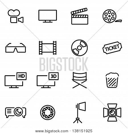 Vector illustration of thin line icons - cinema on white background