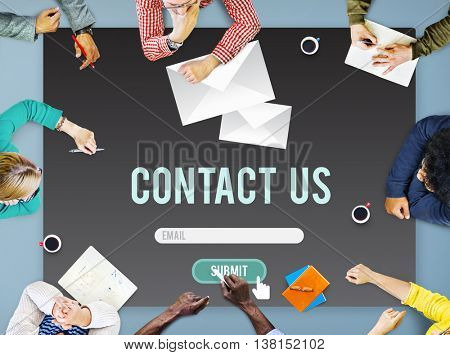 Contact Us Assistance Business Contact Help Concept
