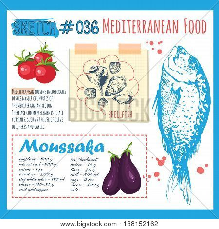Food in the sketch style. Vector illustration of ethnic cooking: seafood vegetables and fish.