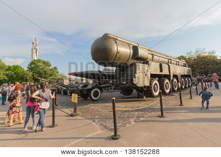 Kiev Ukraine - May 09 2016: Visitors to the museum of military equipment near the specimen missile system of medium-range SS-20